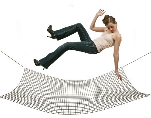 woman falling into net