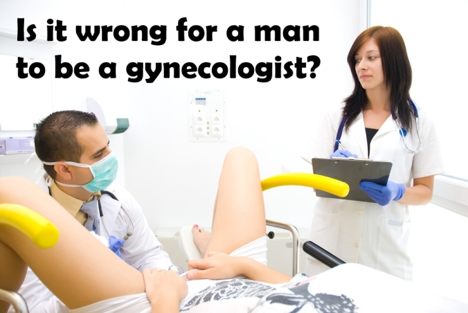 A gynecological examination.Shooting a real doctor's office